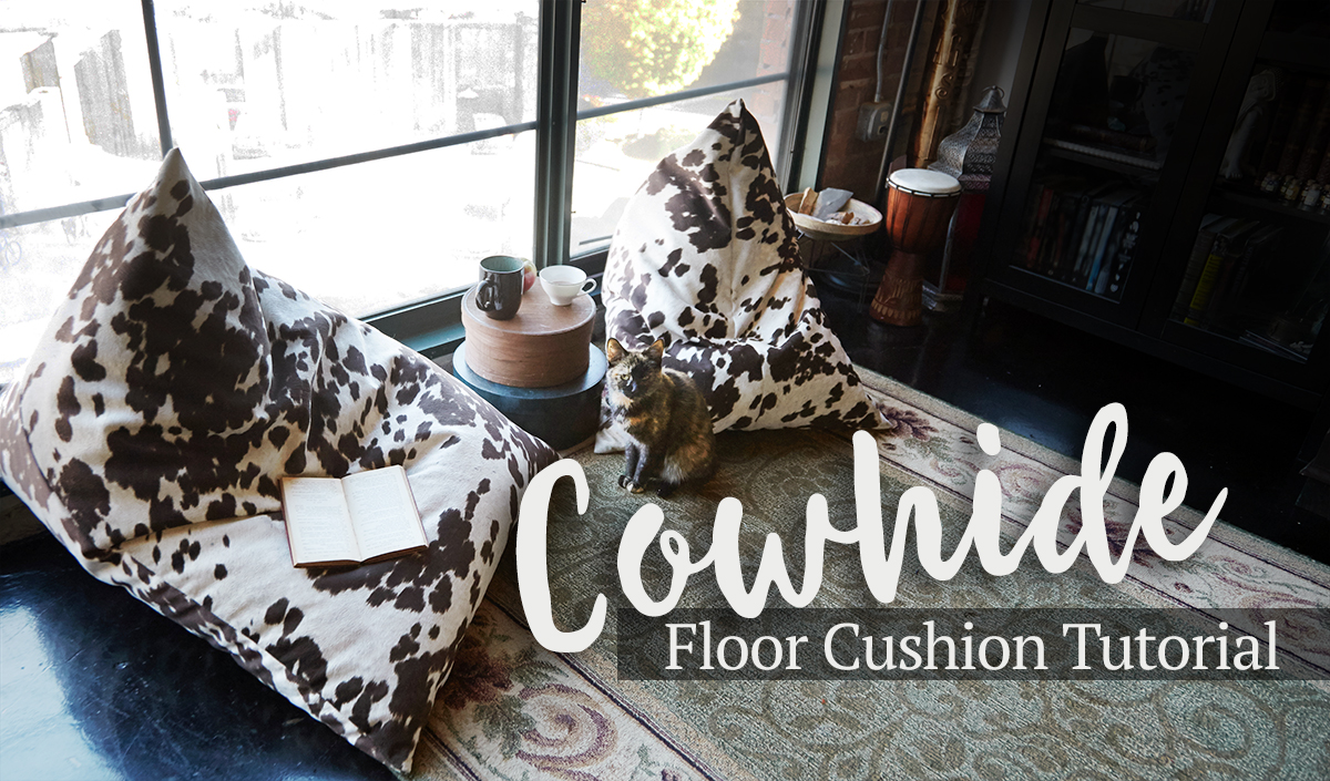 cowhide floor cushion tutorial cowhide is a huge trend in home