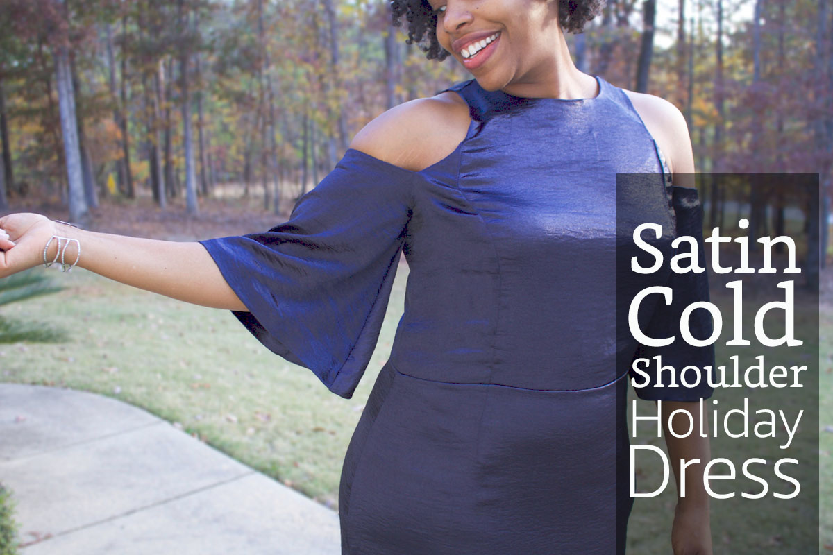 Satin Cold Shoulder Holiday Dress